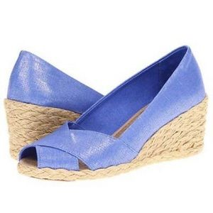 Ralph Lauren Cecilia Wedge Sandals in Regatta Blue